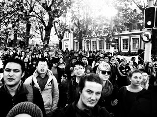 crowd young b&w