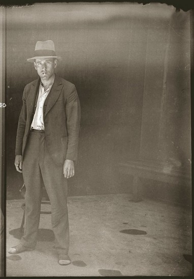 Unknown man, 1920s, mug shot.