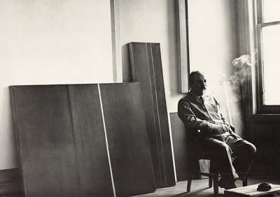 Barnett Newman, in studio, 1950s