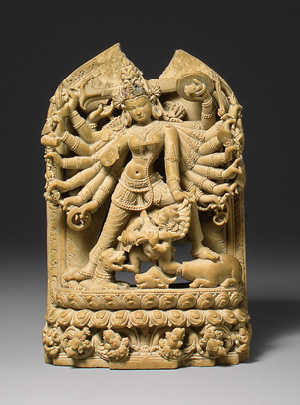 Durga, killing demon. Pala Period, 12th century Bangladesh