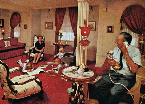 Walt Disney in his offices, Main Street, Disneyland, 1950s.