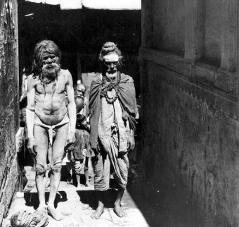 Sadhus, streets of Mathura, 1950s. Photographer unknown.