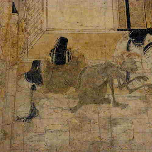 Gaki Zoshi, Scroll of The Hungry Ghosts. Late 12th century. (detail) 日本語: 餓鬼草紙 (がきぞうし)