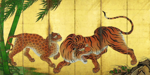 Kano Sansetu. Early 17th century, painted screens.