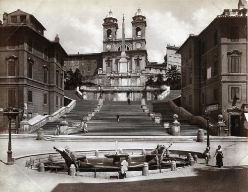 """Giacomo Brogi, photography. """"Chiasa della Trinita de Monti"""". Rome. 1870."""
