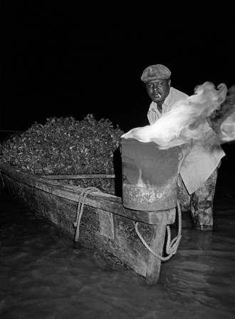 Jack Leigh, photography. 'Oyster man, night'.