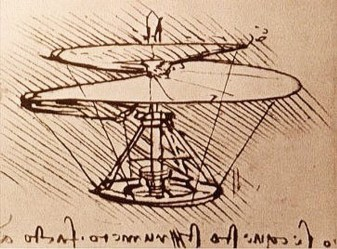 Leonardo Da Vinci, drawing for flying machine.