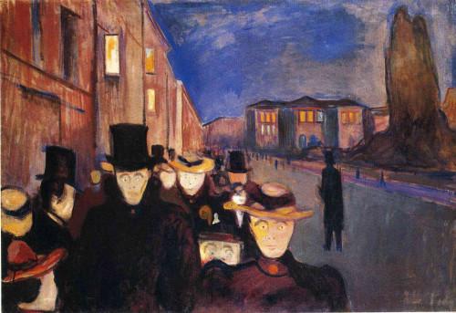 "Edvard Munch. ""Evening on Karl Johan Strasse"". 1892."
