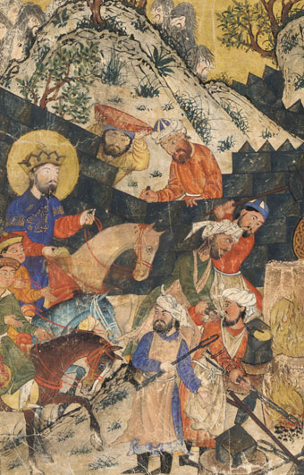 Depiction of Iskandar, book. 15th century Persia.