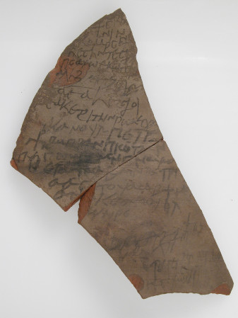 Pottery fragment, ink writing. 7th century, Egypt.