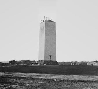 Construction of Washington Monument, 1860 (Mathew Brady photography).
