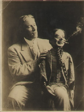 Unknown ventriloquist and his dummy. Apprx 1910.