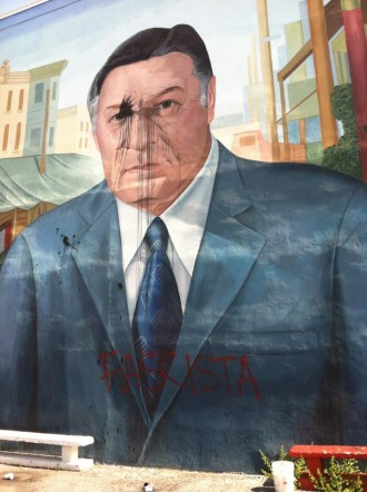 Vandalized mural of Frank Rizzo,