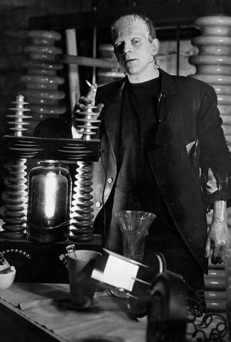 Boris Karloff on set of Bride of Frankenstein. 1935.