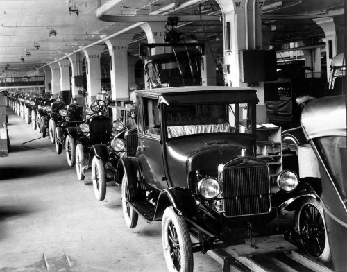 Ford Motor assembly line, 1914. Detroit.