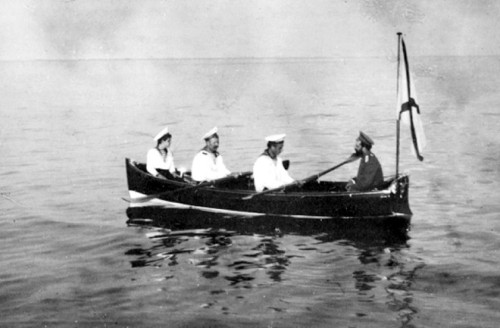 Nicholas II and Alexei Nikolaevich, Tsarevich. Finland vacation, 1913 apprx.
