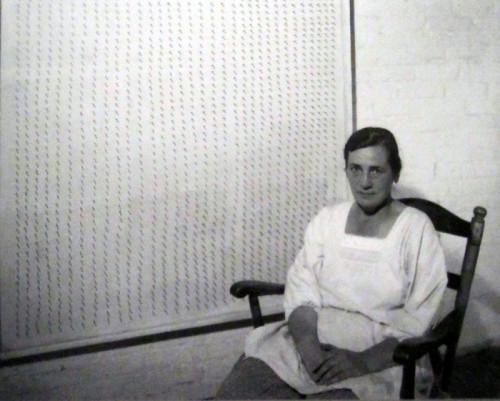 Agnes Martin, in her studio, apprx 1953.