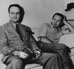 Chandler and Billy Wilder, during filming of Cain's Double Indemnity.