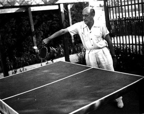 Schoenberg playing ping pong. California.