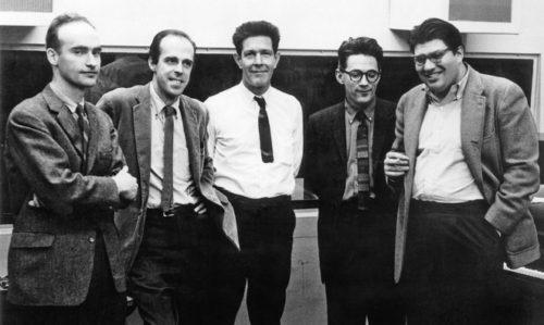 L to R : Christian Wolff, Earle Brown, John Cage, David Tudor, Morton Feldman. 1962.