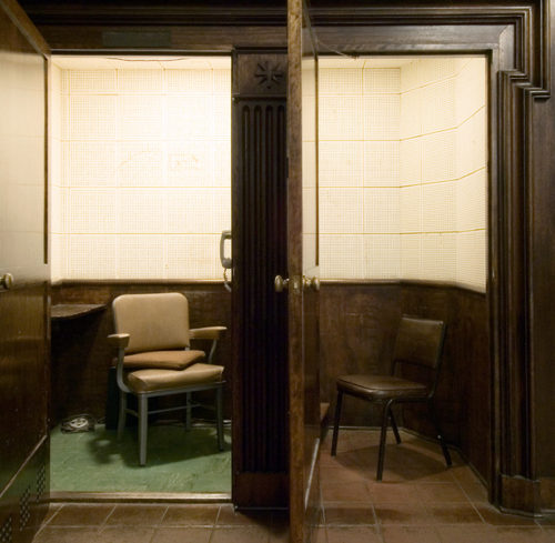 Richard Ross, photography. (Confessional, Mission Santa Barbara, CA.)
