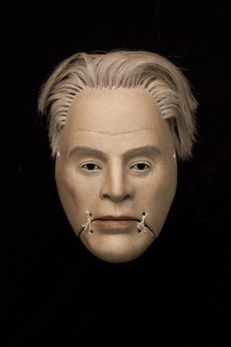 Mask of William Butler Yeats. (Simon Starling at Twilight, Yasuo Miichi).
